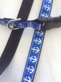 """NAUTICAL Designer Dog Collar & Leash.  15""""-22"""""""