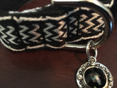 Black and white designer dog collar with matching leash