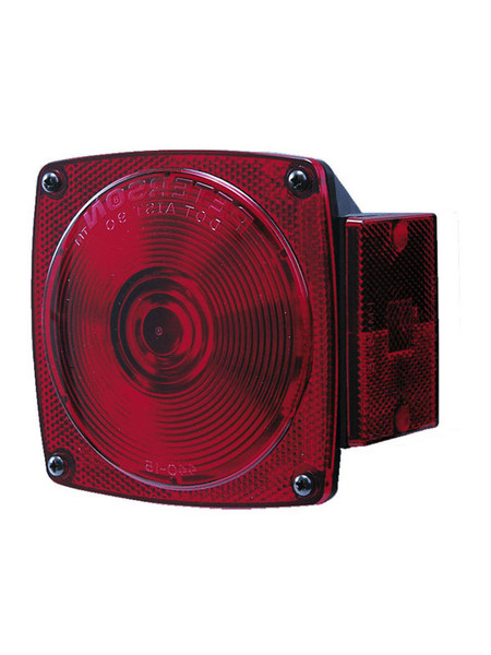 "440L --- Square Combination Left Tail Light with License Illuminator and Side Marker - For Under 80"" Wide Trailer"
