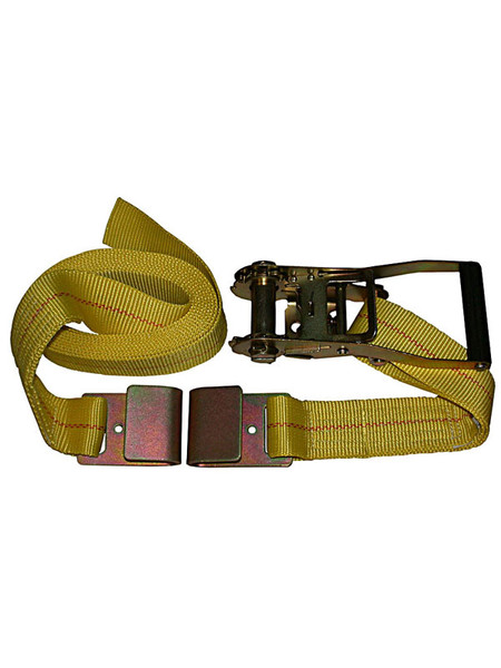 """HD-15FT --- Heavy Duty Tie Down Strap with Ratchet - Flat Hook End Fittings - 2"""" x 15'"""