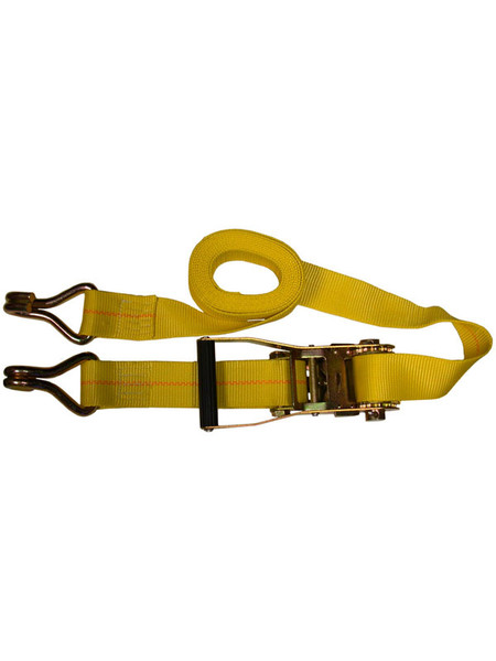 "HD-15FTJ --- Heavy Duty Tie Down Strap with Ratchet - J Hook End Fittings - 2"" x 15'"