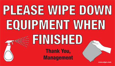 Please Wipe Down Equipment Sticker Clinical Charts And