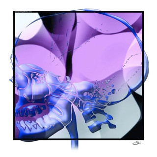 Purple Lateral Skull Poster