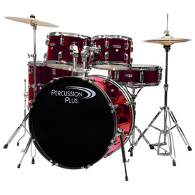 Percussion Plus 5pc Drumset w/ Hardware and Cymbals PP4100 Metallic Wine Red