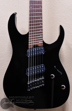 Ibanez RGMS7 Multi Scale 7 String Electric Guitar in Black (RGMS7) Fanned Fret