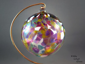 Multicoloured hand blown traditional Christmas ornament by glassblower Kelly Lowe.