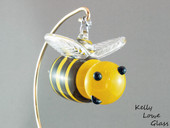 Glass Bee Ornament Front - Kelly Lowe Glass