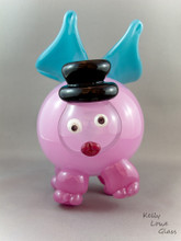 Butterhog - Blown Glass Pig and Butterfly Hybrid by Kelly Lowe Glass