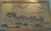 Vintage Stagecoach painting  on Burlap by William Scoggins