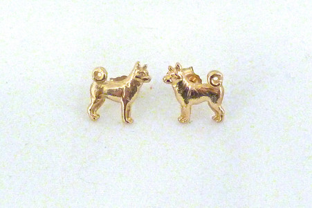 Akita Earrings 14k