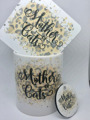 Mother of Cats Mug, coaster and key chain.