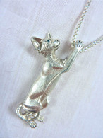 Sphynx Cat Standing Pendant Sterling Silver