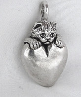 Cat Heart Pendant Sterling Silver