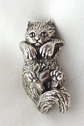 Kitten Swinging Pendant Sterling Silver
