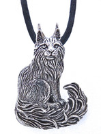 Maine Coon Cat Pendant Sterling Silver