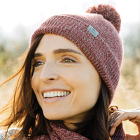 Dark Red Heather, Model - Roots73 36108 Shelty Knit Toque | imprintables.ca