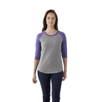Purple Heather/Medium Heather Grey, Model - Elevate 97814 Women's Dakota Quarter Tee | imprintables.ca