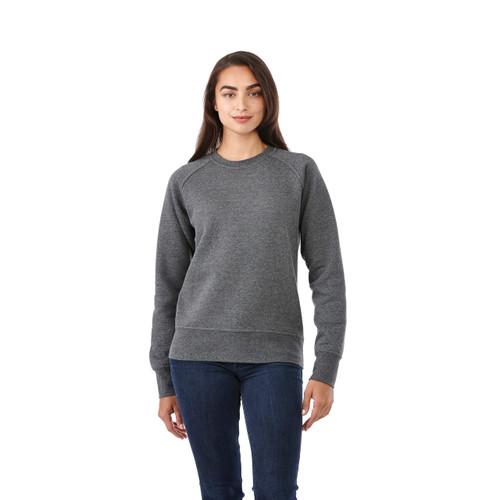 Heather Dark Charcoal, Model - Elevate 98408 Women's Kruger Fleece Crew | imprintables.ca