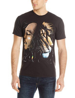 BOB MARLEY Lion Head Profile Black T-Shirt