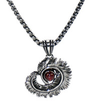 INOX JEWELRY S.S Black Oxidized Spiral Feather with Red Gem Necklace Pendant