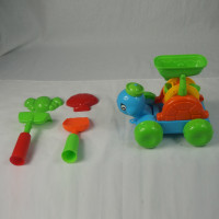 Beach Turtle Wheel SandBox Shovel Crab Shell Rake Kids 5 Piece Toy Set