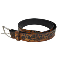 LUCKY 13 Grease Gas Glory Brown Embossed Leather Belt