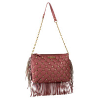 Rock Rebel Fringe Quilted Skull Marsala Bag