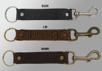 LUCKY 13 Genuine Leather Logo Keychain Clip