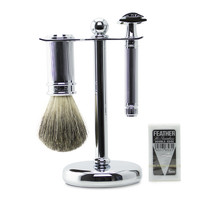 Edwin Jagger Chrome Plated Double Edge Safety Razor Set