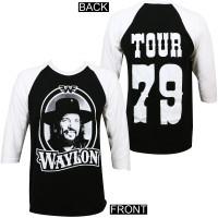 Waylon Jennings '79 Tour Raglan Shirt Black White