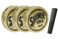 Shiner Gold Matte Clay Pomade 3 Pack & Free Comb