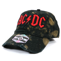 AC/DC Logo Heavy-Washed Bleached Distressed Dad Hat