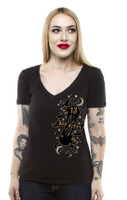 Lucky 13 Bad Kitty Juniors Deep V-Neck T-Shirt