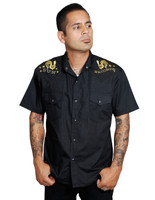 Steady Clothing Rooster Crow Western Button Up Shirt Black