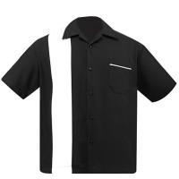 Steady Clothing Poplin Single Panel Bowling Shirt Black White