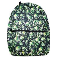 Green Skull Pile All Over Print Laptop Backpack