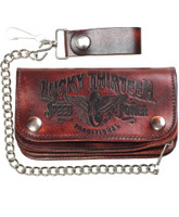 Lucky 13 Traditional Speed Embossed Leather Chain Wallet Antiqued