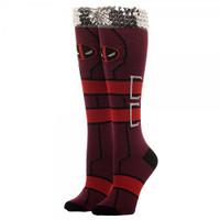 Marvel Deadpool Sequin Cuff Knee High Socks