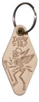 Lucky 13 Skully Motel Genuine Leather Keychain