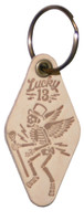 Lucky 13 Skully Motel Genuine Leather Keychain