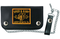Lucky 13 Panther Head Genuine Leather Chain Wallet Black Gold