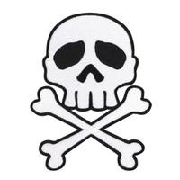 Kreepsville 666 Skull Crossbones Embroidered Patch White