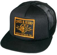 Lucky 13 Panther Head Patch Foam Snapback Trucker Hat Black