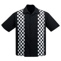 Steady Clothing V8 Checkered Mini Panel Button Up Bowling Shirt
