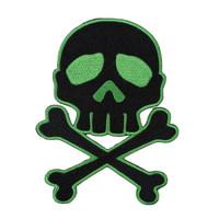 Kreepsville 666 Skull Crossbones Green Embroidered Patch