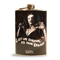 Retro A Go Go Vampira Let Us Drink Stainless 8 oz. Steel Flask