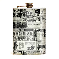 Retro A Go Go Monster Magazine Stainless 8 oz. Steel Flask