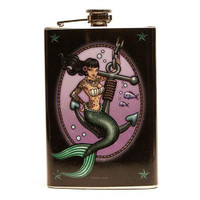 Retro A Go Go Mermaid Stainless 8 oz. Steel Flask