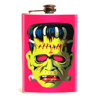 Retro A Go Go Frankie Mask Stainless 8 oz. Steel Flask