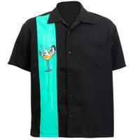 Steady Clothing Single Panel Martini Girl Button Up Bowling Shirt Black Mint